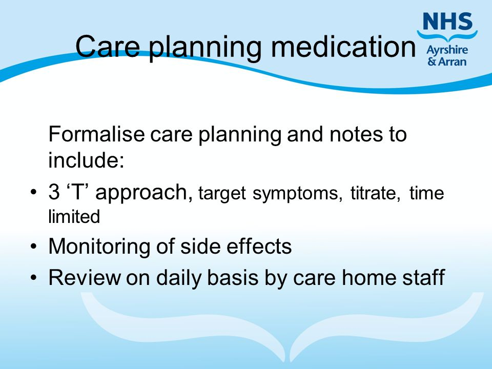 Care planning medication