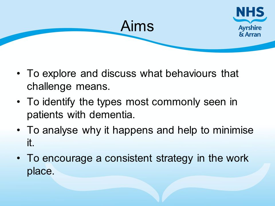 Aims To explore and discuss what behaviours that challenge means.