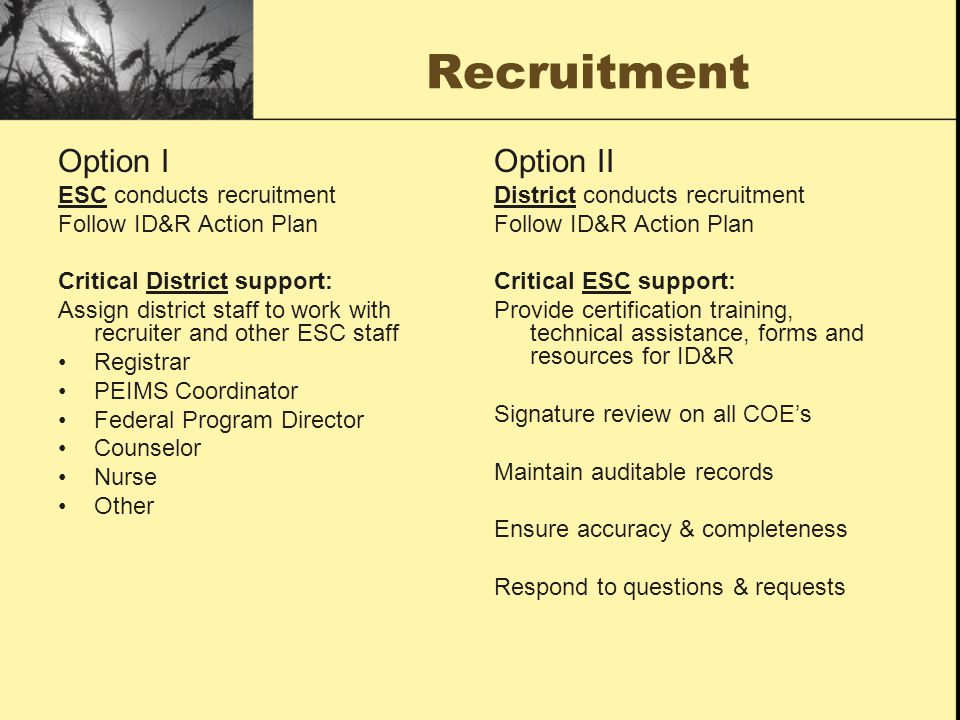 Recruitment Option I Option II ESC conducts recruitment
