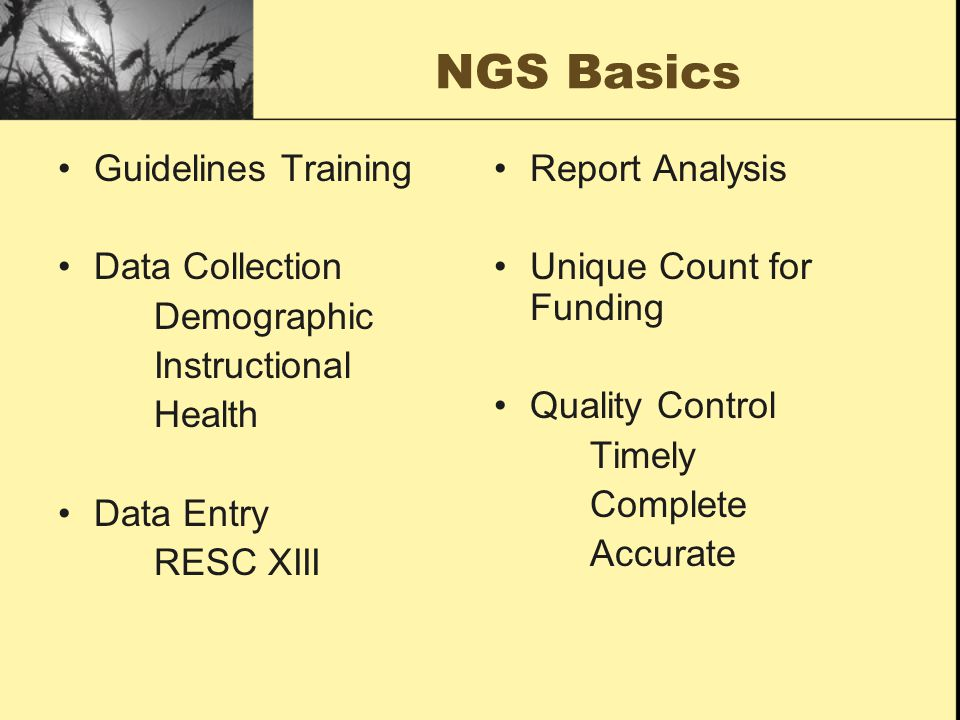 NGS Basics Guidelines Training Data Collection Demographic