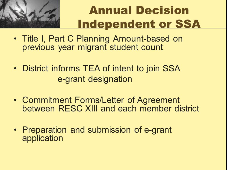 Annual Decision Independent or SSA