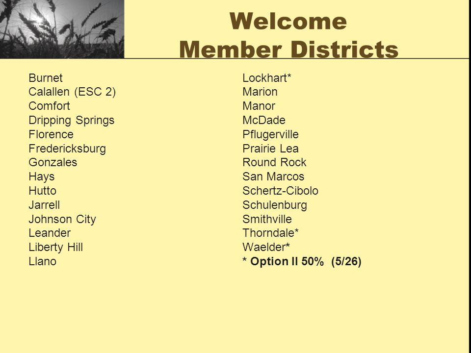 Welcome Member Districts