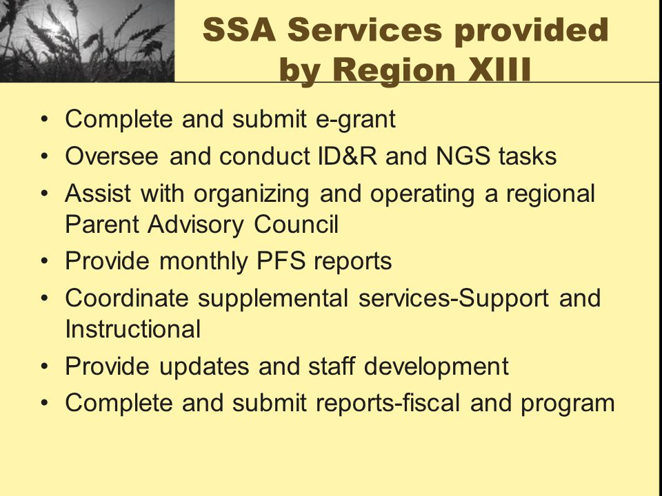SSA Services provided by Region XIII