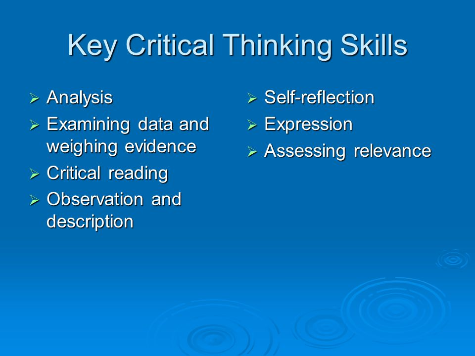 Key Critical Thinking Skills