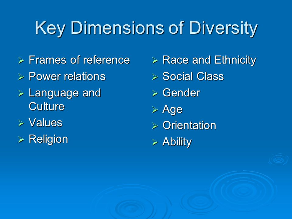 Key Dimensions of Diversity