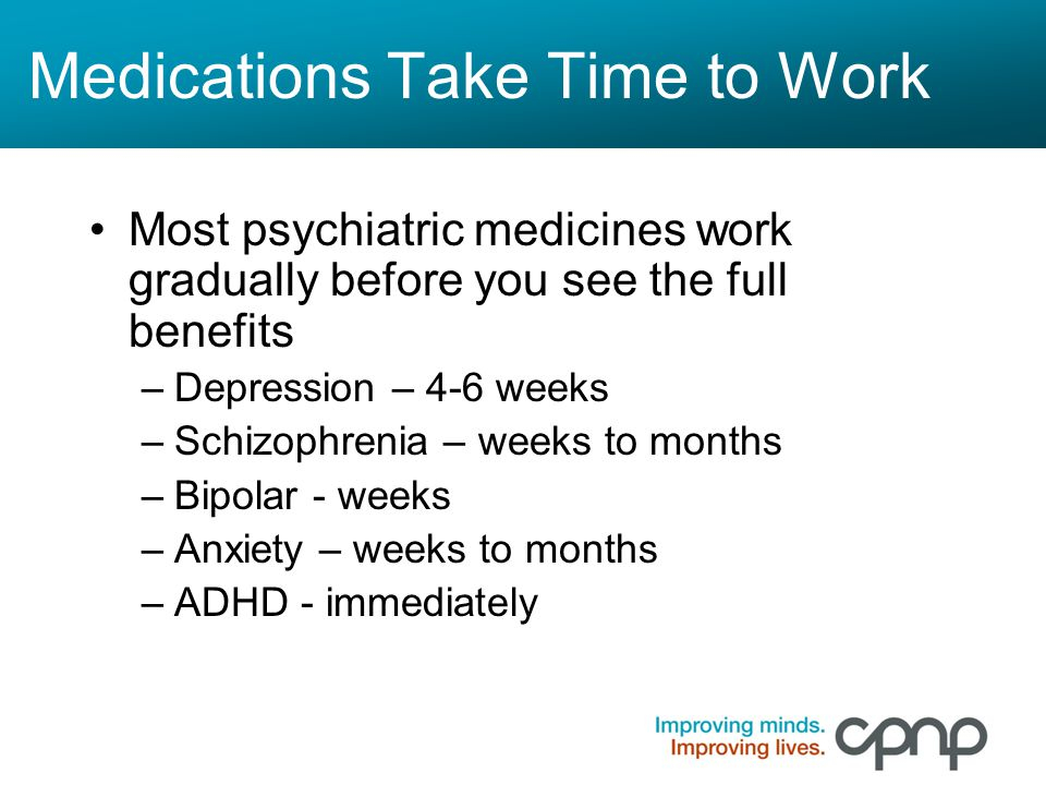 Medications Take Time to Work