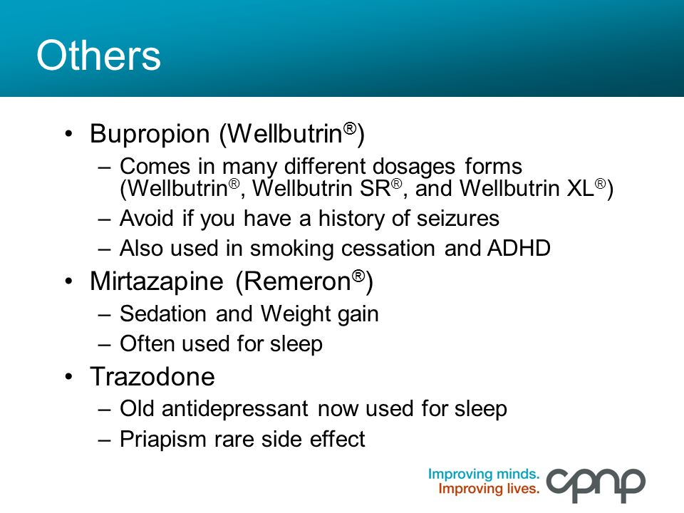 Others Bupropion (Wellbutrin®) Mirtazapine (Remeron®) Trazodone