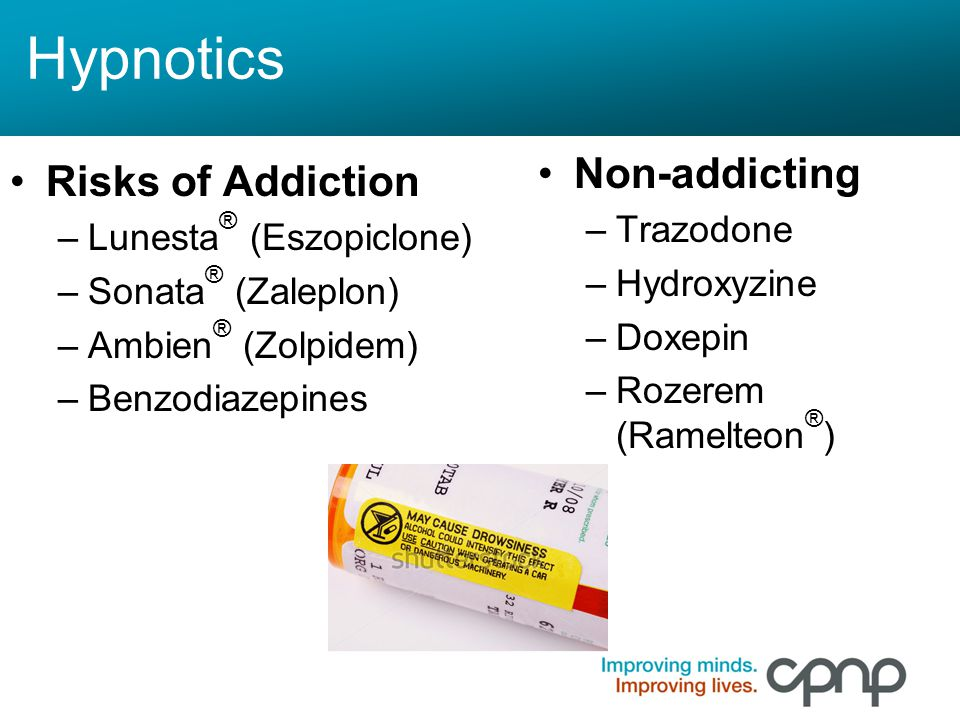 Hypnotics Non-addicting Risks of Addiction Trazodone