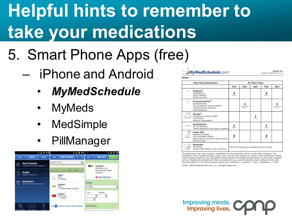 Helpful hints to remember to take your medications