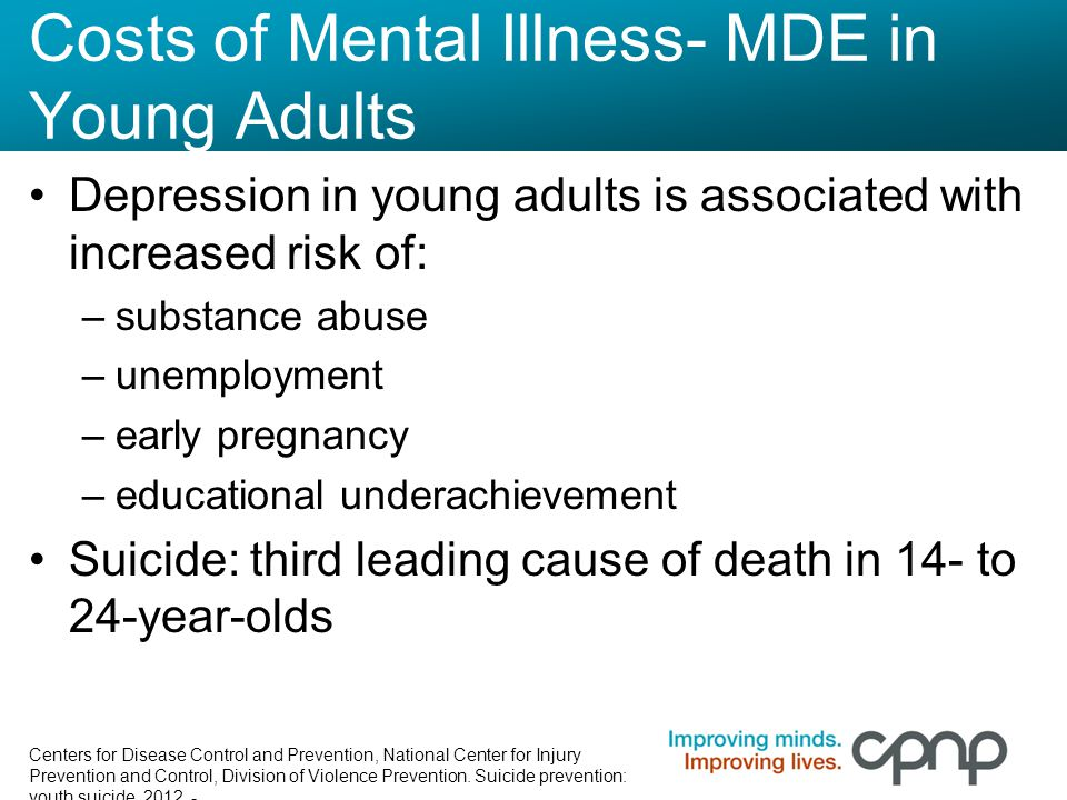 Costs of Mental Illness- MDE in Young Adults