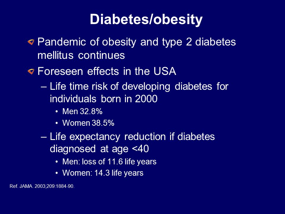 Diabetes/obesity Pandemic of obesity and type 2 diabetes mellitus continues. Foreseen effects in the USA.