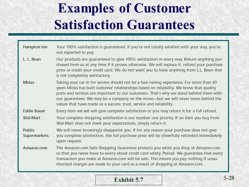 Examples of Customer Satisfaction Guarantees