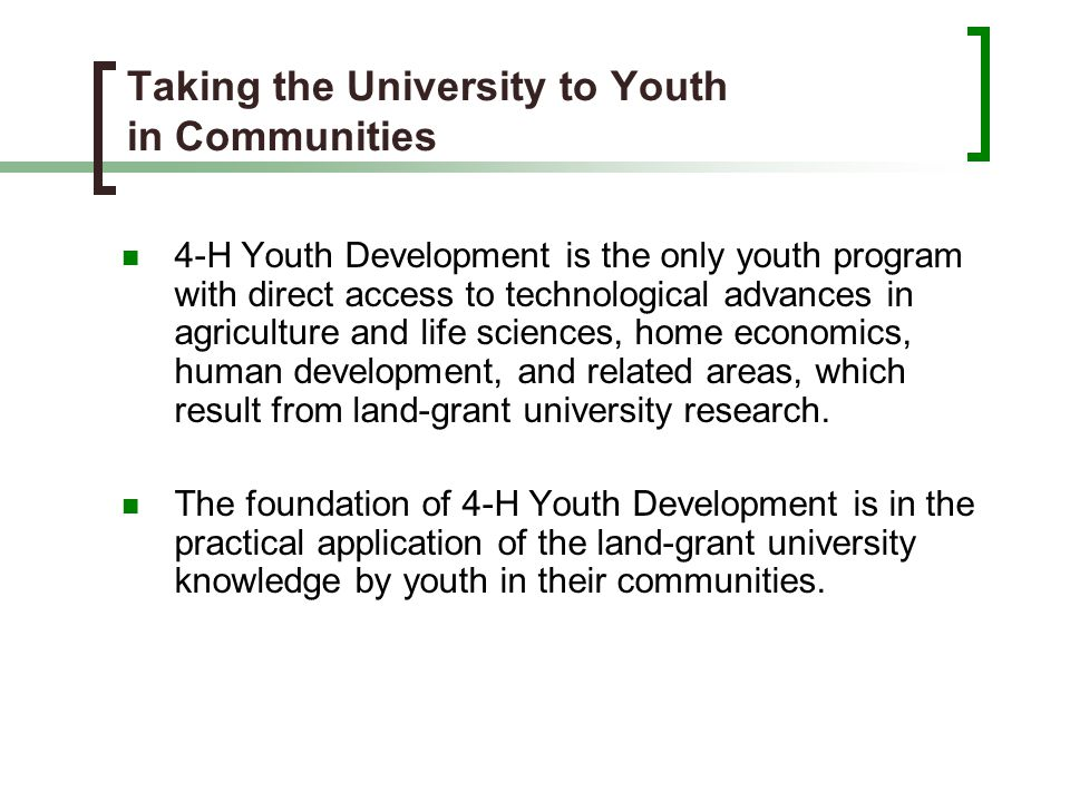Taking the University to Youth in Communities