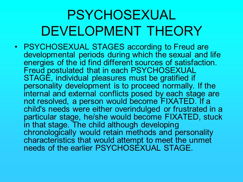 PSYCHOSEXUAL DEVELOPMENT THEORY