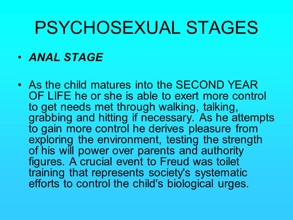 PSYCHOSEXUAL STAGES ANAL STAGE