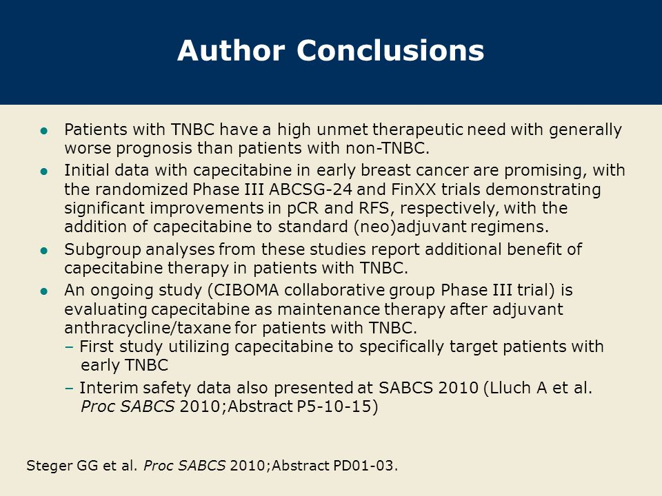 Author Conclusions Patients with TNBC have a high unmet therapeutic need with generally worse prognosis than patients with non-TNBC.