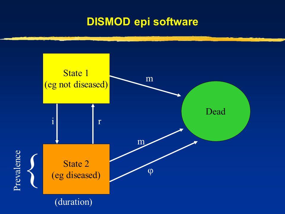 { DISMOD epi software State 2 (eg diseased) Dead State 1