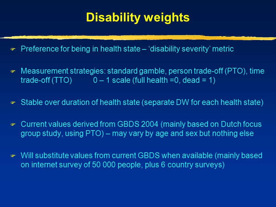 Disability weights Preference for being in health state – 'disability severity' metric.