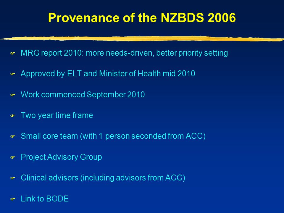 Provenance of the NZBDS 2006