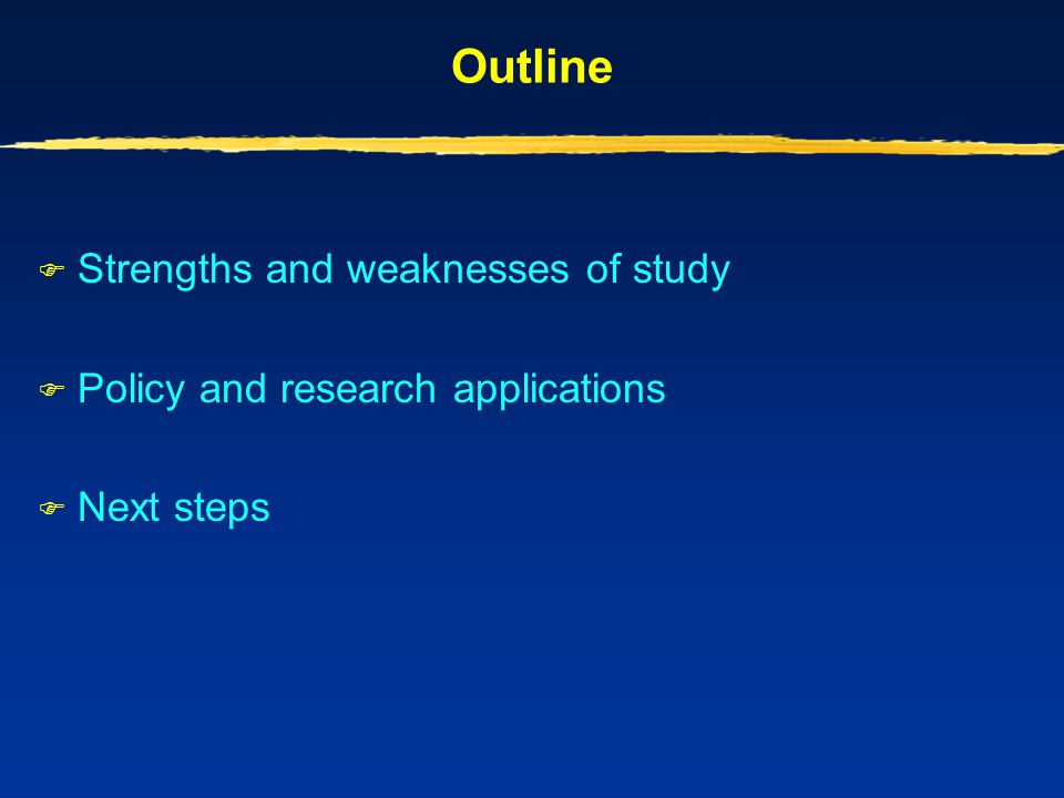 Outline Strengths and weaknesses of study