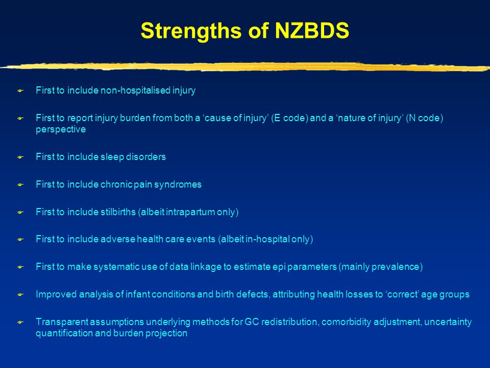 Strengths of NZBDS First to include non-hospitalised injury
