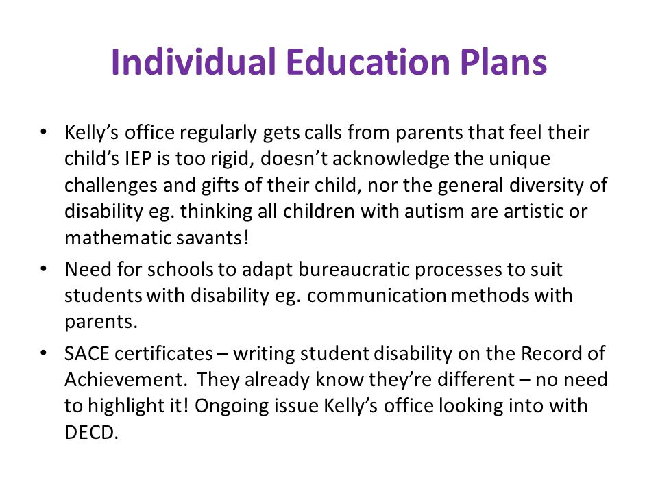 Individual Education Plans