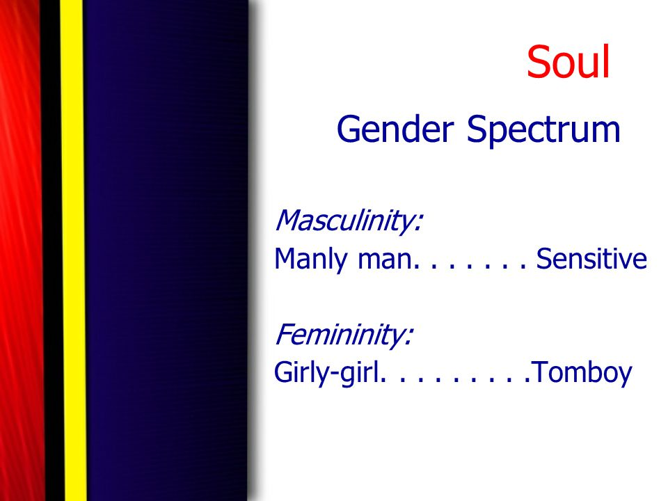 Soul Gender Spectrum Masculinity: Manly man. . . . . . . Sensitive