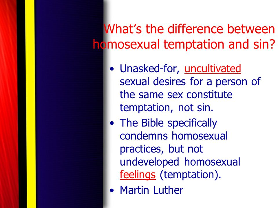 What's the difference between homosexual temptation and sin