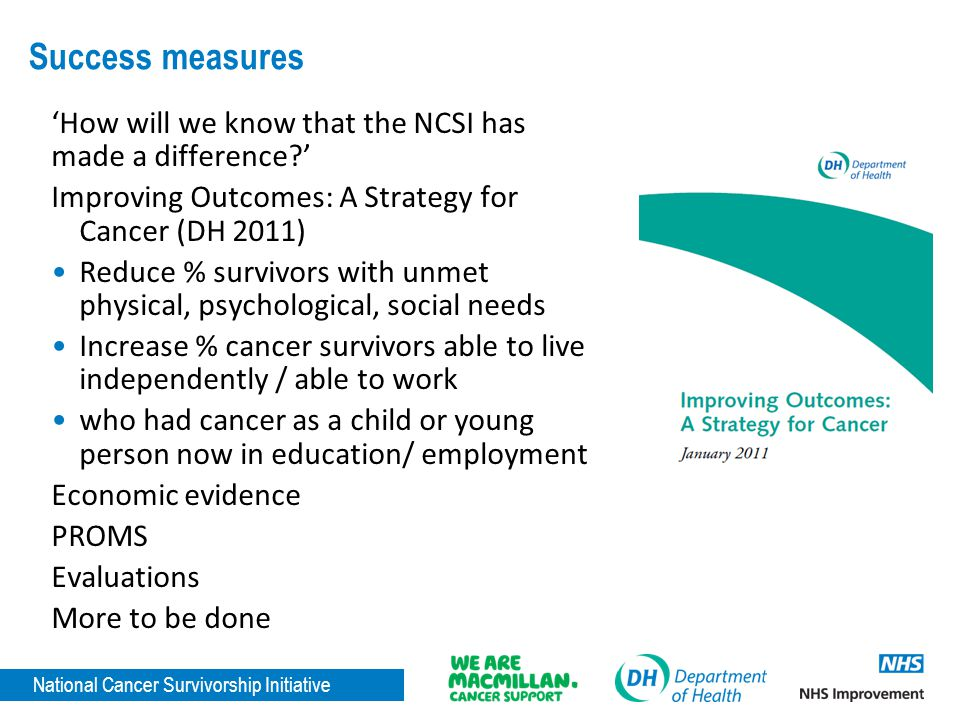 Success measures 'How will we know that the NCSI has made a difference ' Improving Outcomes: A Strategy for Cancer (DH 2011)