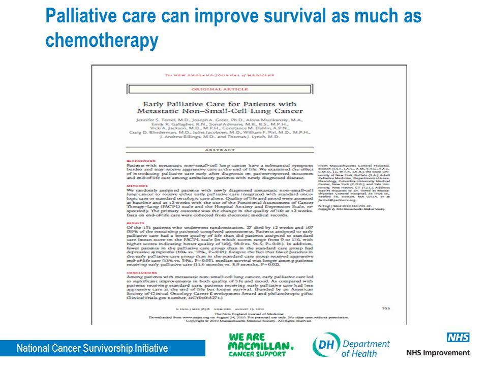 Palliative care can improve survival as much as chemotherapy