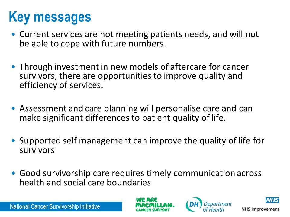 Key messages Current services are not meeting patients needs, and will not be able to cope with future numbers.