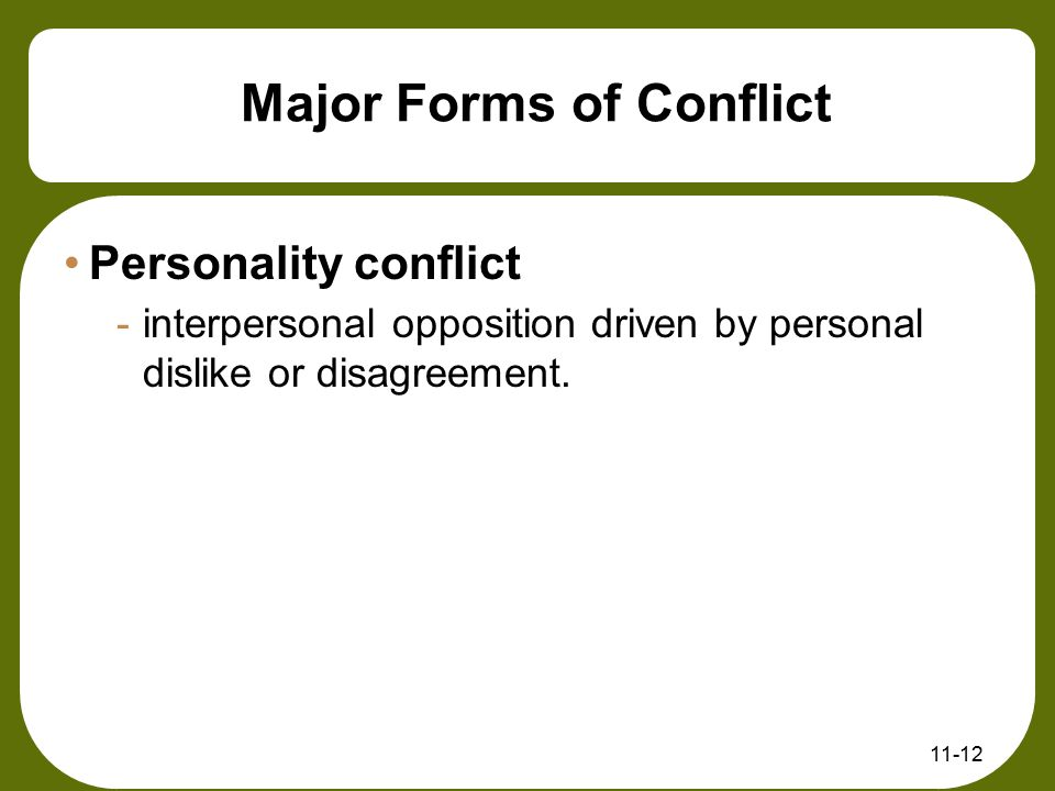 Major Forms of Conflict