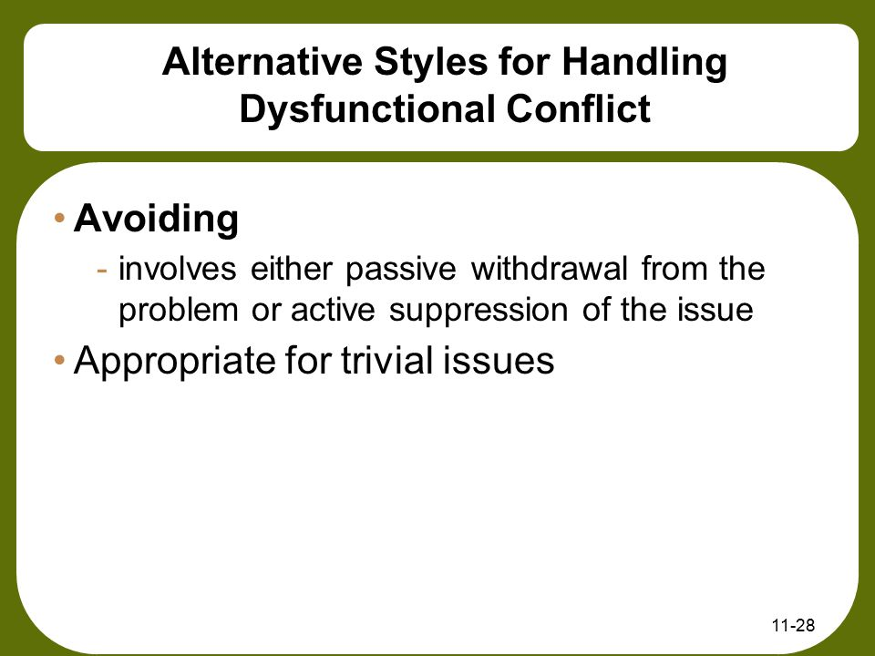 Alternative Styles for Handling Dysfunctional Conflict