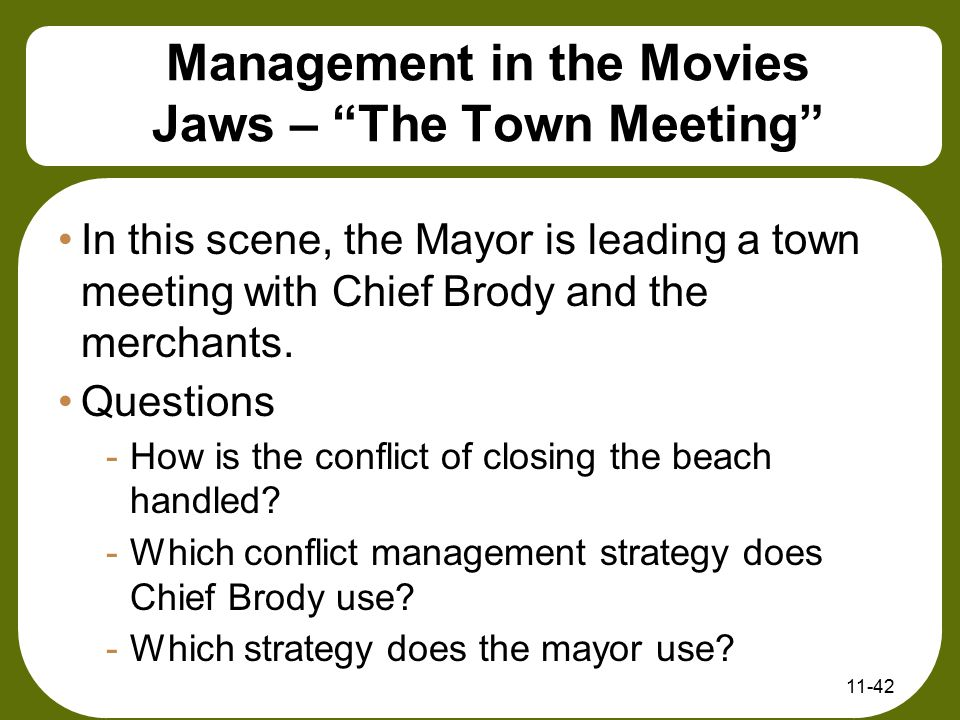 Management in the Movies Jaws – The Town Meeting