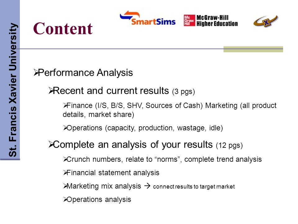 Content St. Francis Xavier University Performance Analysis