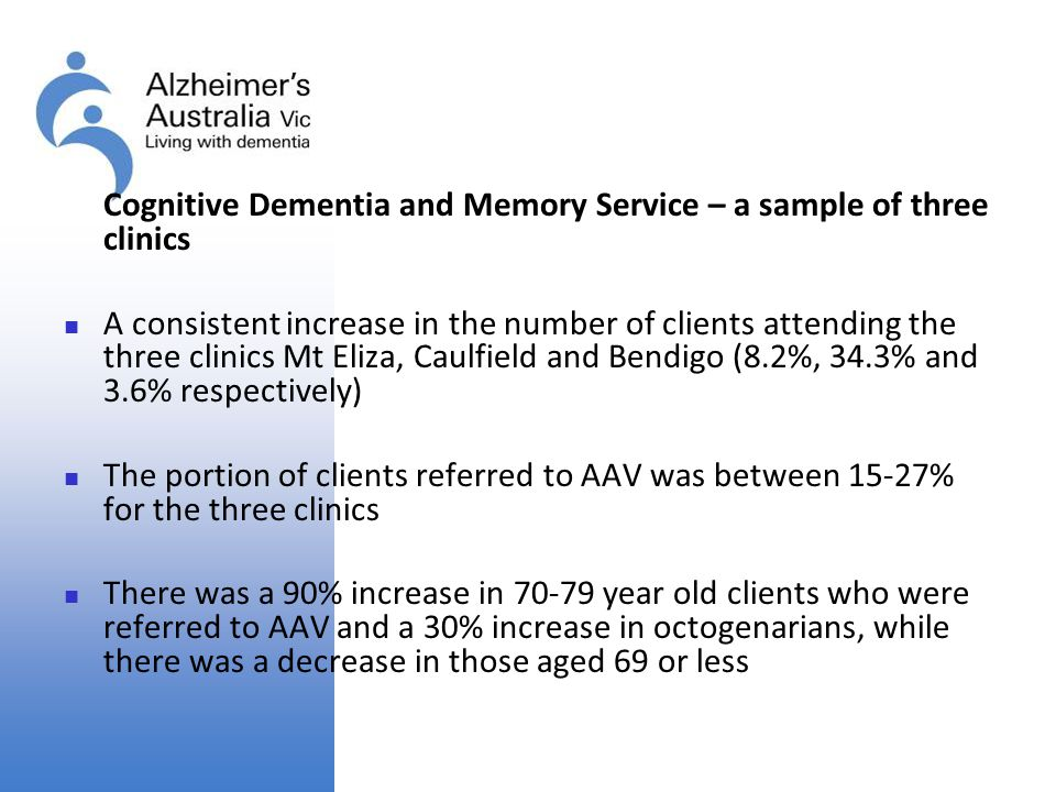 Cognitive Dementia and Memory Service – a sample of three clinics
