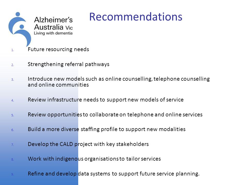 Recommendations Future resourcing needs. Strengthening referral pathways.