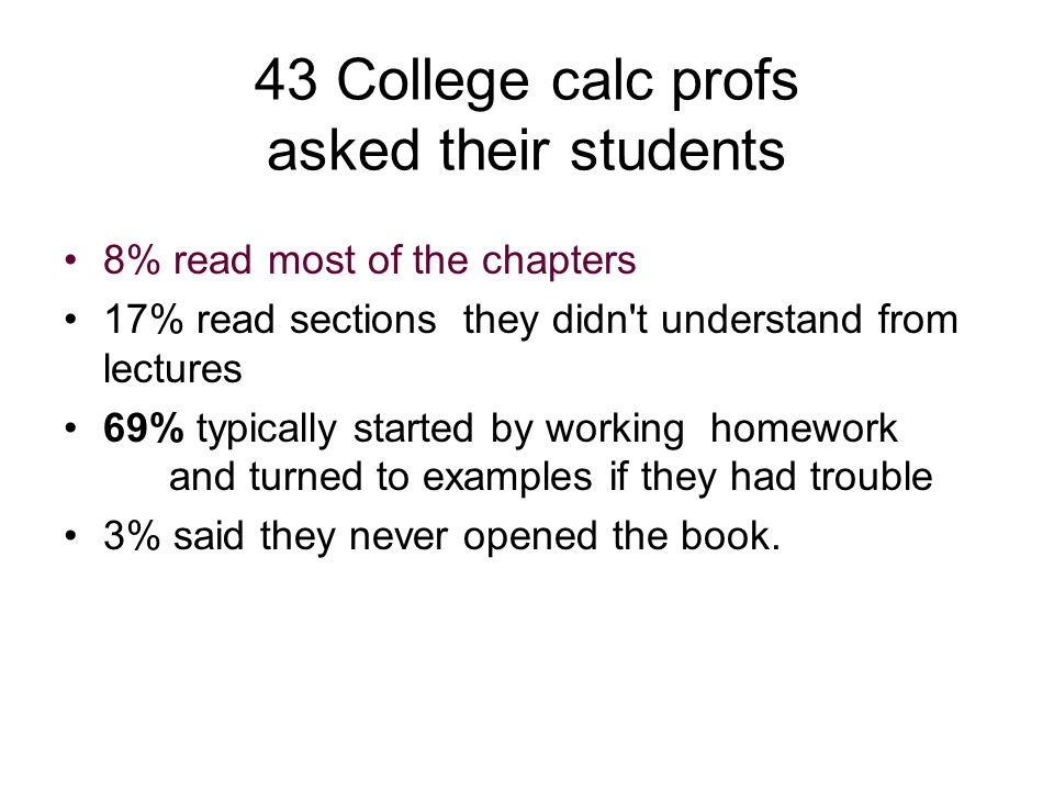 43 College calc profs asked their students