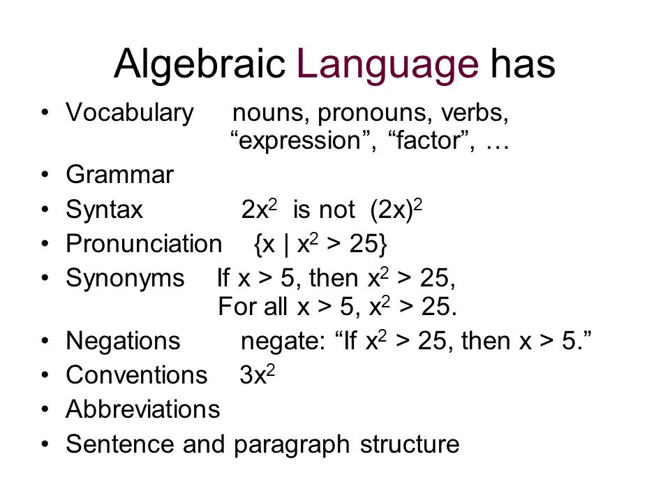 Algebraic Language has