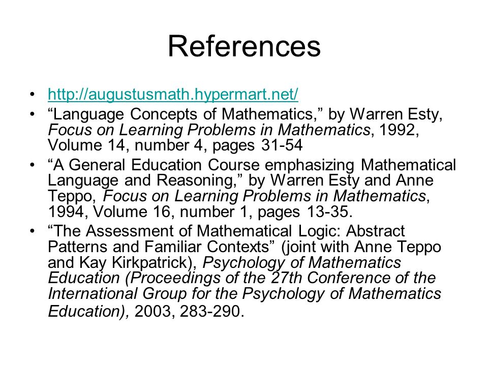 References http://augustusmath.hypermart.net/
