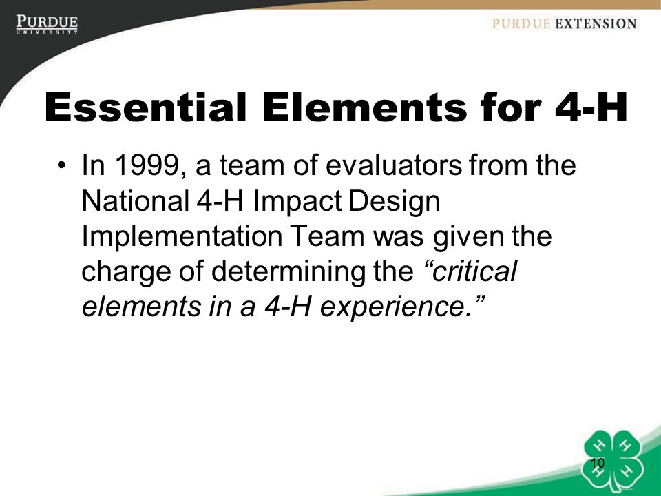 Essential Elements for 4-H