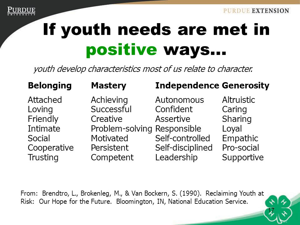 If youth needs are met in positive ways...