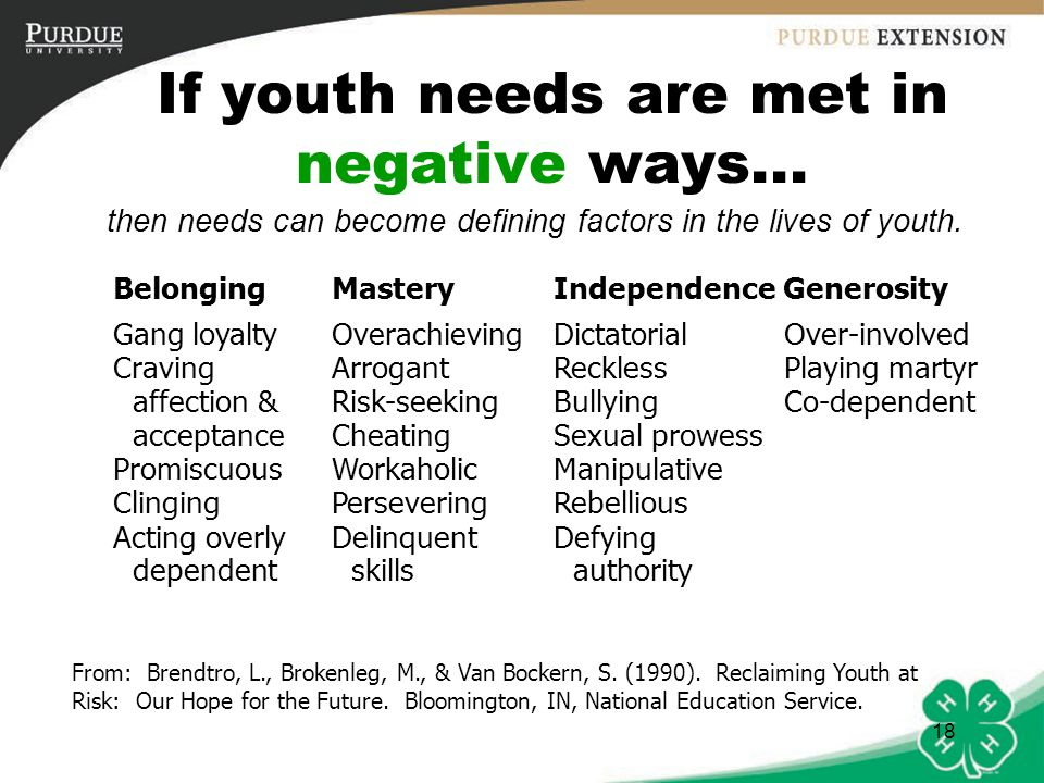 If youth needs are met in negative ways...