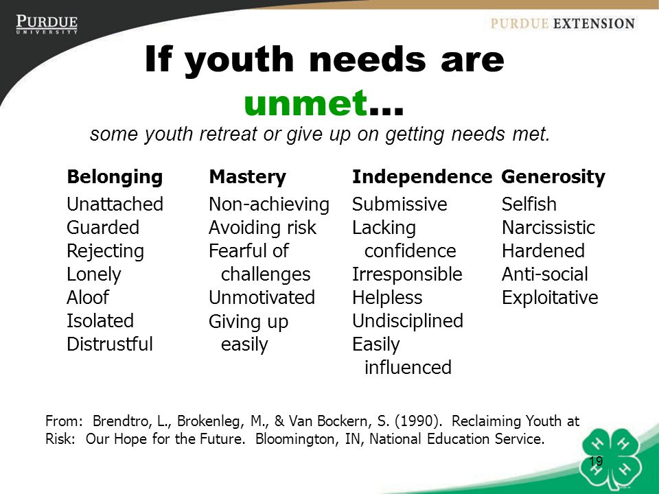 If youth needs are unmet...