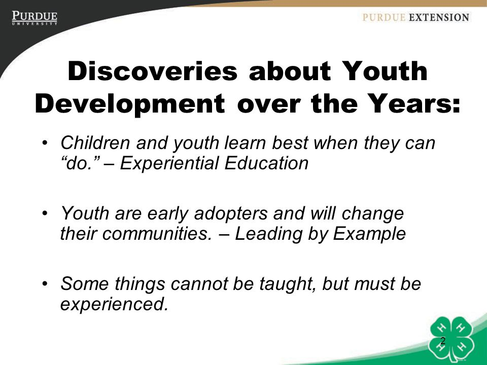 Discoveries about Youth Development over the Years: