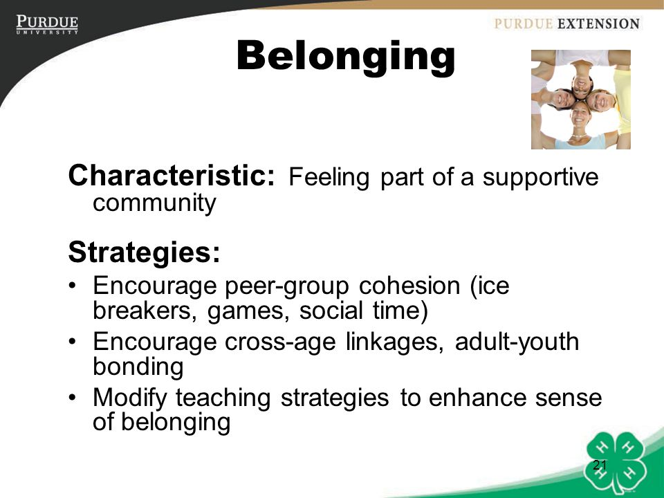 Belonging Characteristic: Feeling part of a supportive community