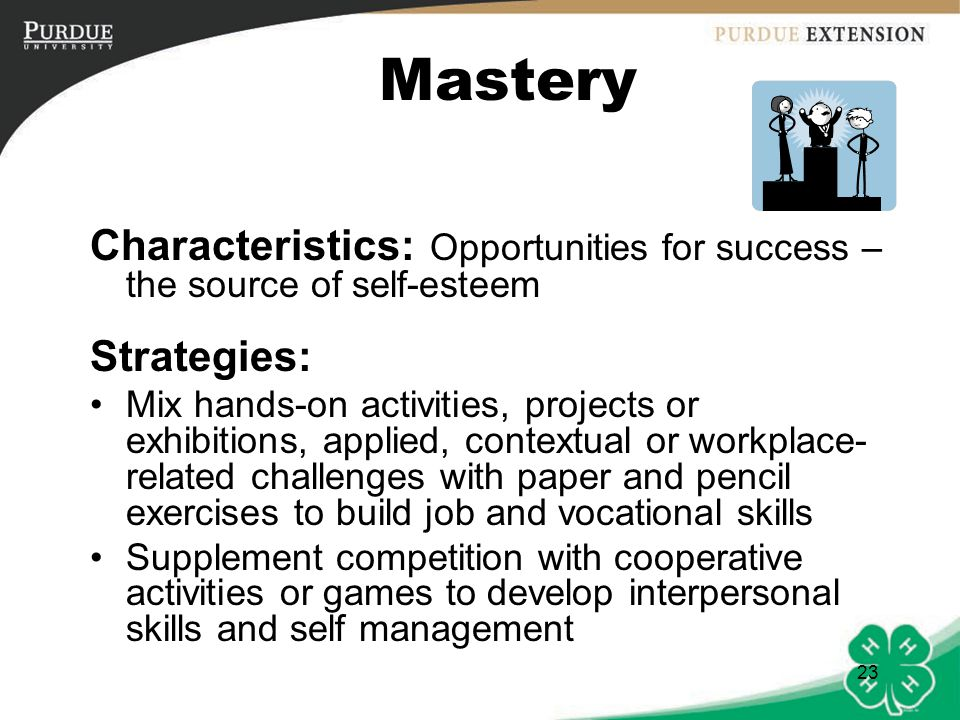 Mastery Characteristics: Opportunities for success – the source of self-esteem. Strategies: