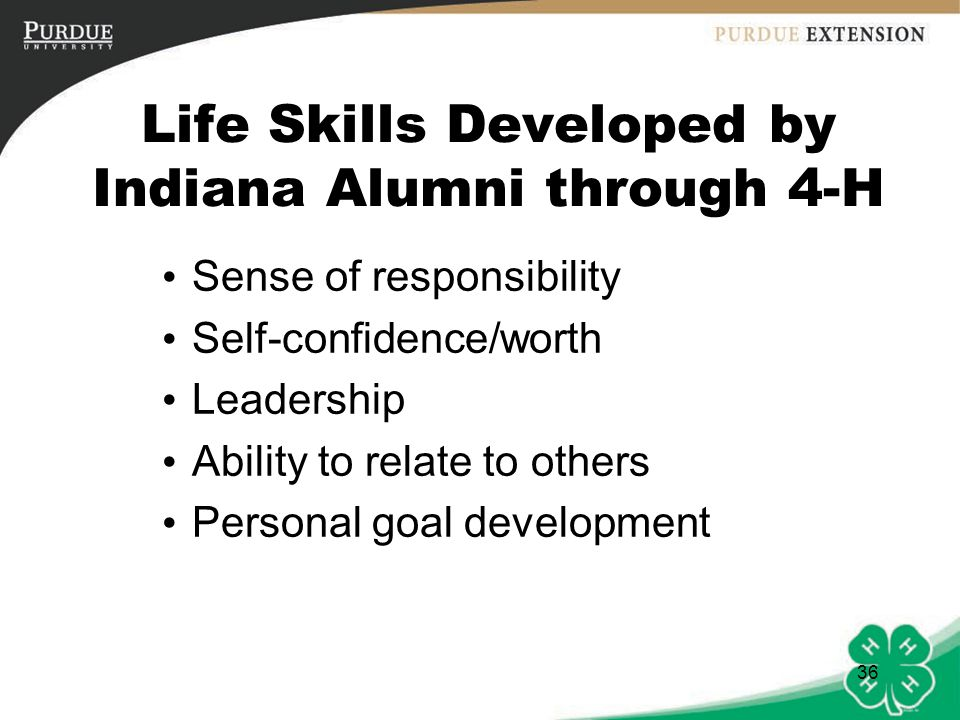Life Skills Developed by Indiana Alumni through 4-H