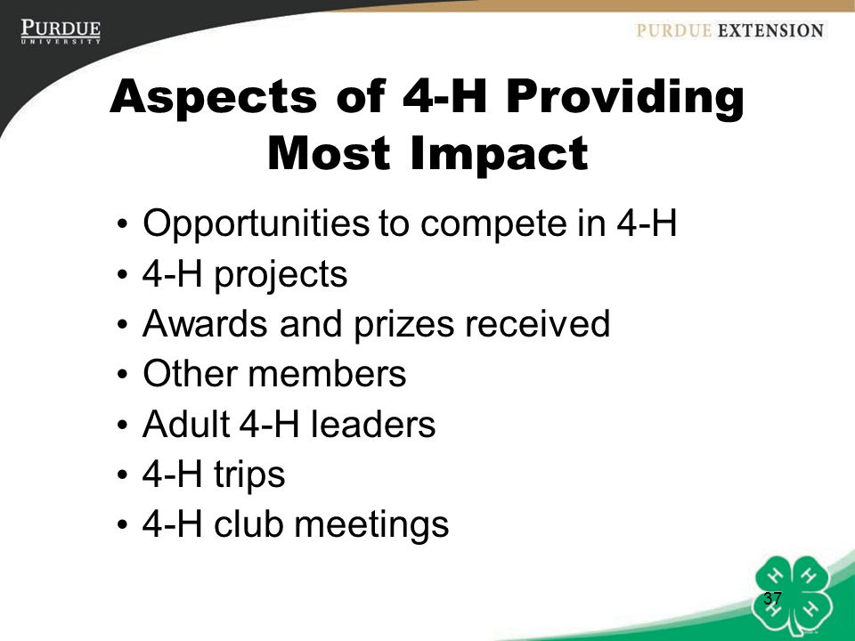Aspects of 4-H Providing Most Impact