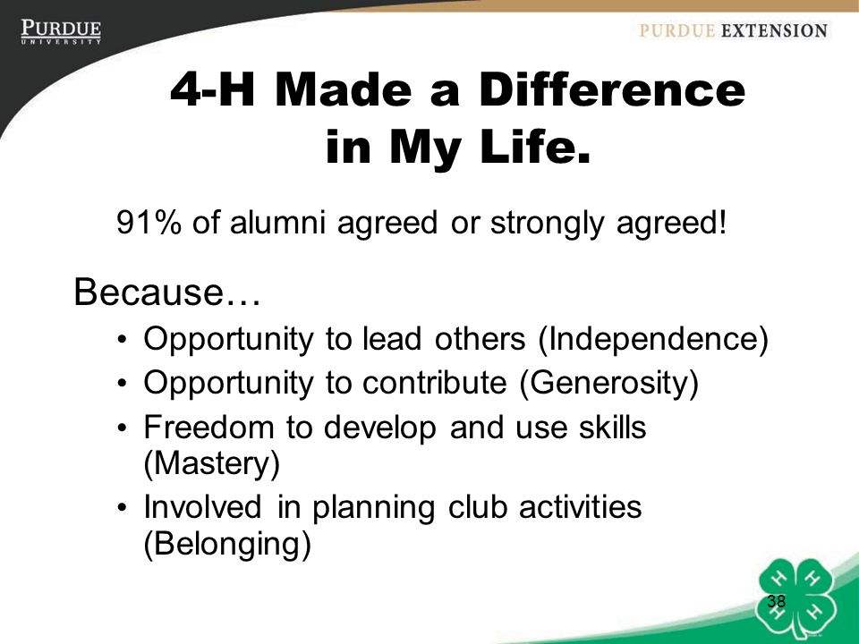 4-H Made a Difference in My Life.